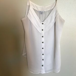 NAKED ZEBRA BUTTON UP SHEER BLOUSE TANK TOP